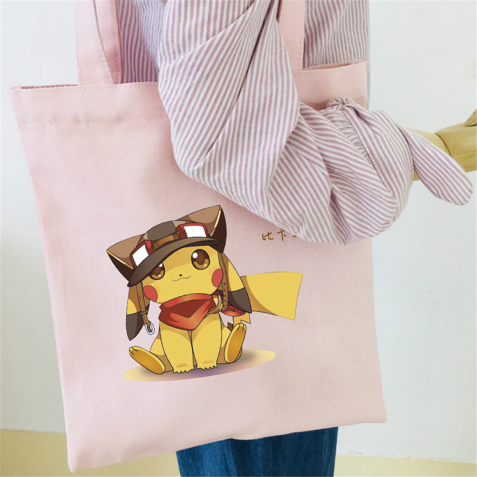 7aa65558896d Pokemon Shoulder Bag Cotton Fashion Japanese Cartoon Shoulder Bags Harajuku  Tote Black Shopping Kawaii Durable Eco Bag