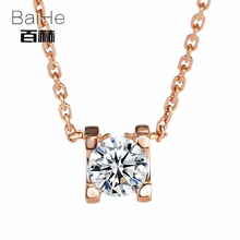 BAIHE Solid 14K Rose Gold 0.10ct Certified H/SI 100% Genuine Natural Diamonds Women Trendy Fine Jewelry Elegant gift Necklaces