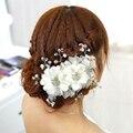 Duas flores de noiva acessórios para o cabelo de noiva cocar véu com Pérolas para a mulher festa ou jantar