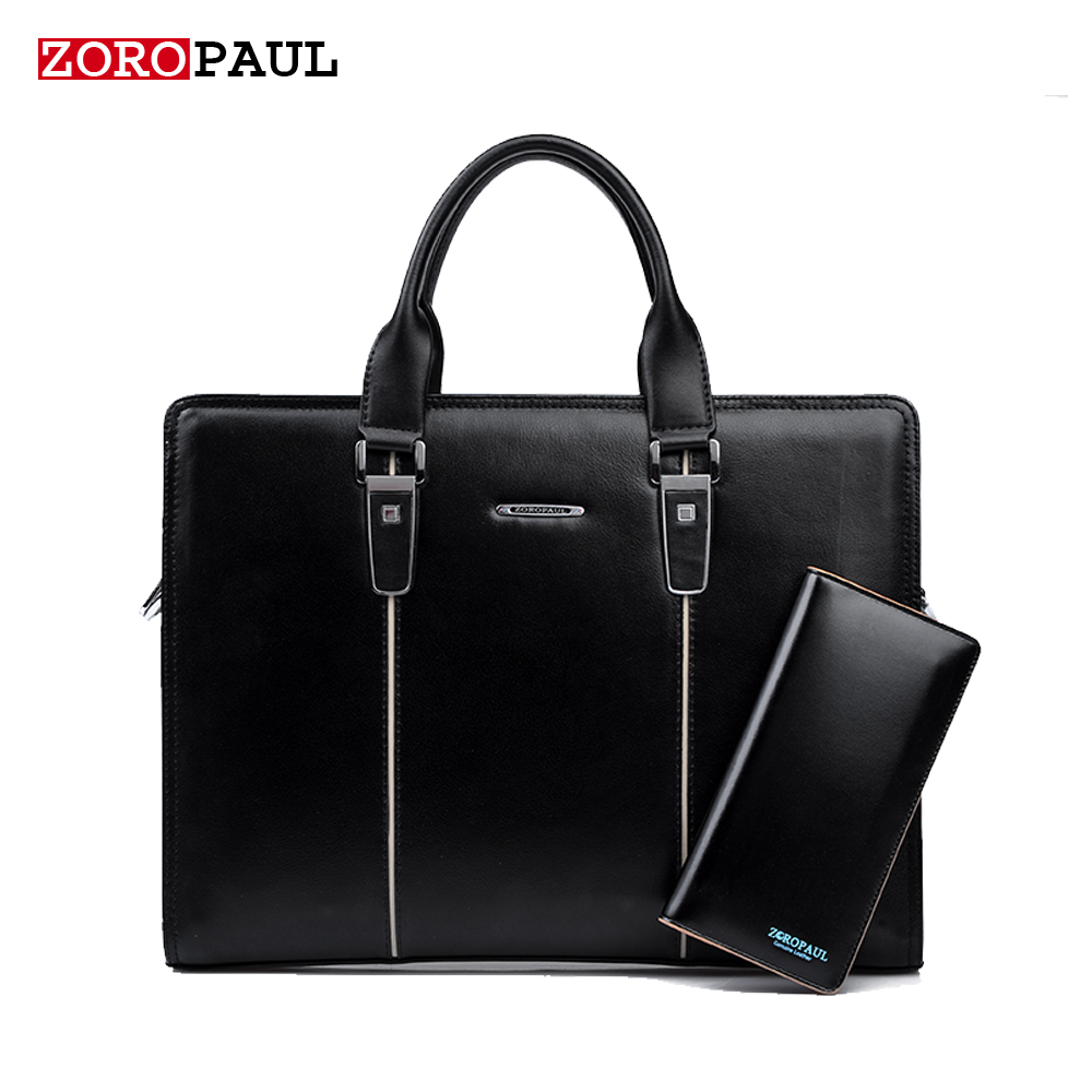 ФОТО ZOROPAUL Men's Fashion Handbags 2017 Men Famous Brands Tote Business Shoulder Black Top Handle Men Briefcas Handbag Leather Bags