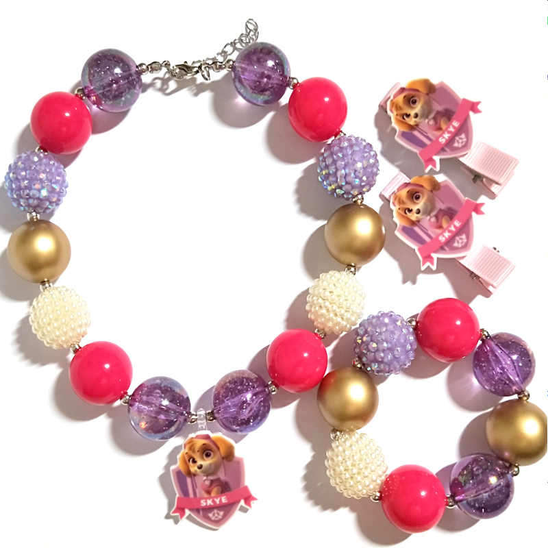 NEW Baby Girls Birthday Gifts SKYE Dog Charm Pendant Necklace Hand Made Chunky Bubblegum Necklace Bracelet Hairpins Jewelry Sets