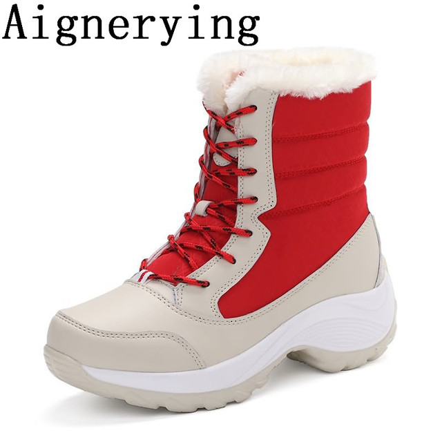 Women Ankle Waterproof Boots Warm Fur Winter Shoes Women Snow Boots Round Toe Comfortable Rubber Soles Casual Shoes