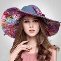 Queen Mejor Estilo Sombrero de Verano Doble Lados Vistiendo Damas Gran Sombrero de Ala Playa de Las Mujeres Sombreros para el Sol Para las mujeres