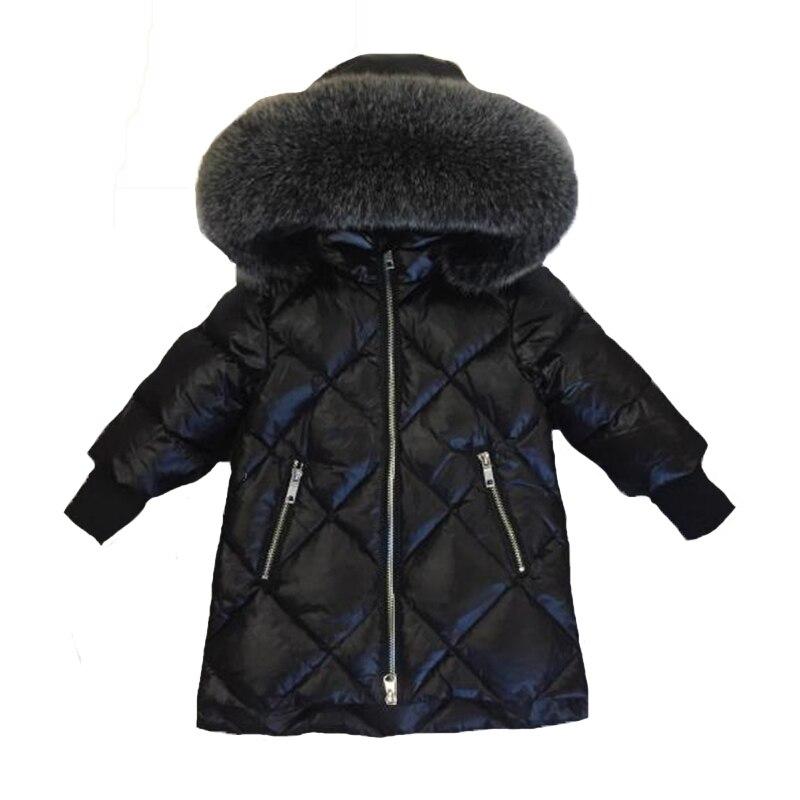 Детская верхняя одежда зимние куртки для девочек теплый толстый пуховик Детская Толстовка большой меховой одежды России зимние одежда пар...