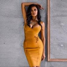 2018 Newest Summer Bandage Dress Women Celebrity Party Spaghetti Strap V-Neck Runway Sexy Dress Women Bodycon Vestidos Wholesale