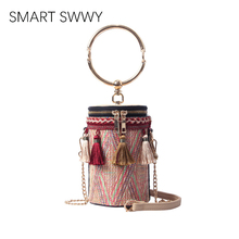2019 Women Hand-woven Straw Bag Ladies Small Shoulder Bags For Girls Summer Beach Crossbody Travel Handbag Rattan Tote