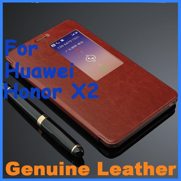 imágenes para Genuino Funda de Cuero de Alta Calidad Para Huawei Honnor X 2 Cuero caso de la Cubierta Del Tirón para Huawei Honor X2 Cubierta de Ventana de Visualización de Negocios