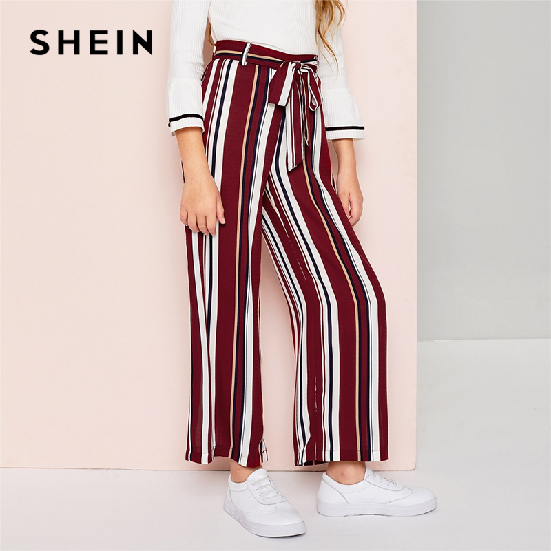 SHEIN Kiddie Striped Belted Wide Leg Elegant Girls Pants Kids Clothes 2019 Spring Elastic Waist Trousers Casual Pants high waist lace up wide legs casual pants