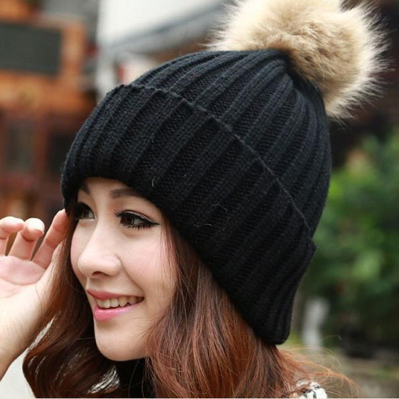 2016 Women Faux Rabbit Fur Hats Fashion Winter Beanies Female Knitted Warm Caps For Women Brand  Hat Crochet Casual Cap velvet thick keep warm winter hat for women rabbit fur knitted beanies ladies female fashion skullies elegant hats for women