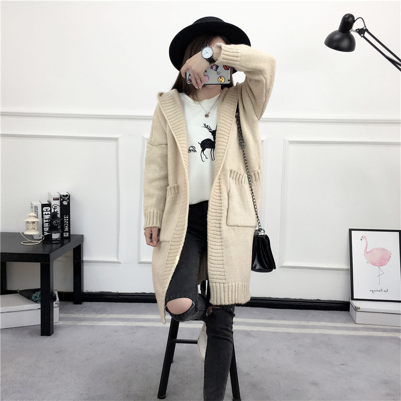 HTB1IV8QSVXXXXXUXFXXq6xXFXXX3 - Women Long Knitted Sweater Coat Hooded Sweater Cardigans JKP039