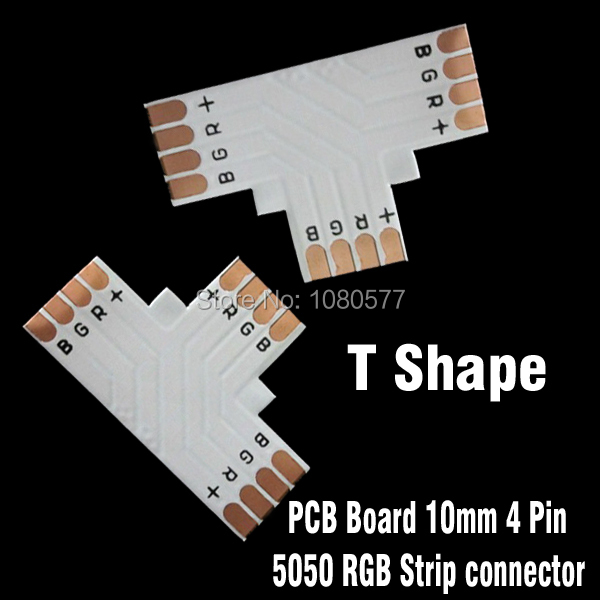 20pcs/lot SMD5050 RGB LED Strip Corner Connector, T Type 10mm 4pin PCB Board Splitter Connector For Direction Changing Use