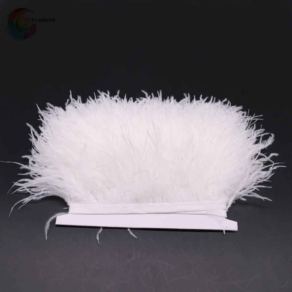 1 метр 32 цвета обрезки из натуральных перьев страуса высота 8-10 см Перья ленты для DIY свадьба на праздник, украшение для платья Ремесло - Цвет: O12 Bleached White