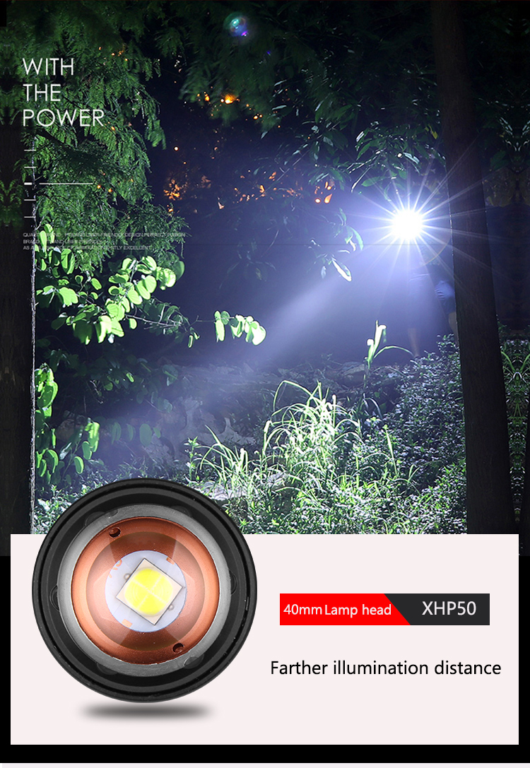 Image 5 - 60000LM Flashlight XHP50 LED Flashlight USB Rechargeable Torch Zoom Flashlight T6 Flashlight Lantern with 18650/26650 Battery-in LED Flashlights from Lights & Lighting