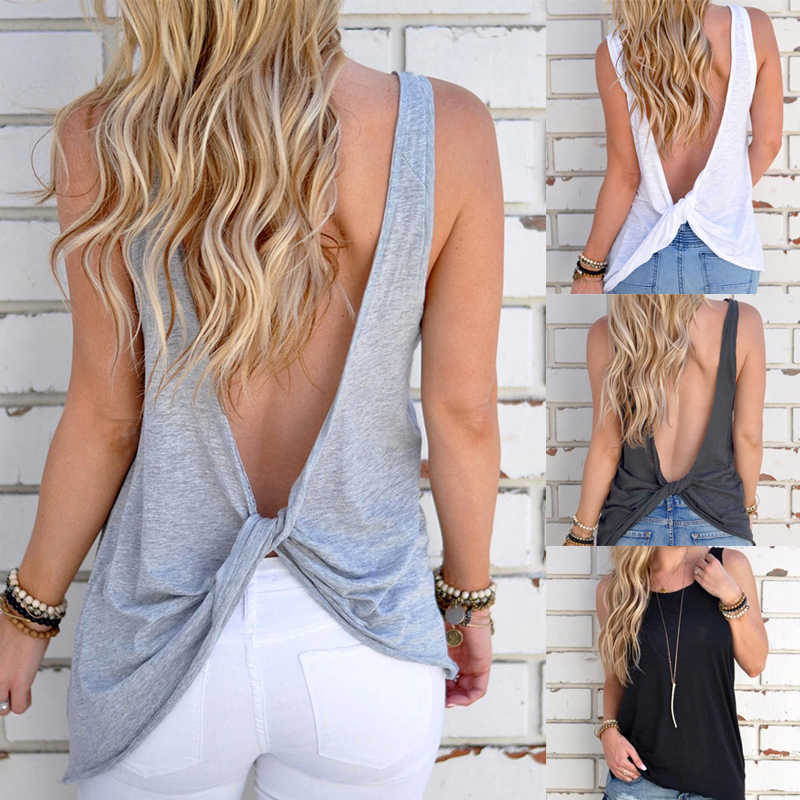 2019 New Arrival Summer Women Sexy Sleeveless Backless Shirt Knotted Sleeveless Sexy Vest Tops T-shirt