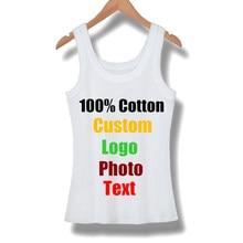 Personalizado Tanques Top Sem Mangas Feminina camisa Das Mulheres T de Verão de Algodão Elastic Menina Tees Camisas T-shirt Camiseta Básica Fino Sexy Feito logotipo
