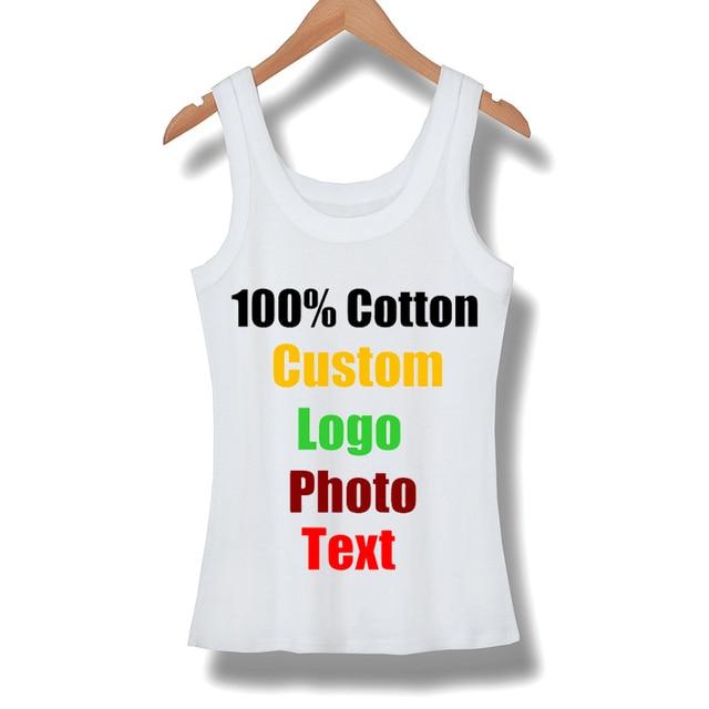4b2061937353a US $9.86 29% OFF Custom Sleeveless Female Women T shirt Summer Tanks Top  Cotton Elastic Girl Tees Slim Sexy Shirts T shirt Basic Tshirt Made Logo-in  ...
