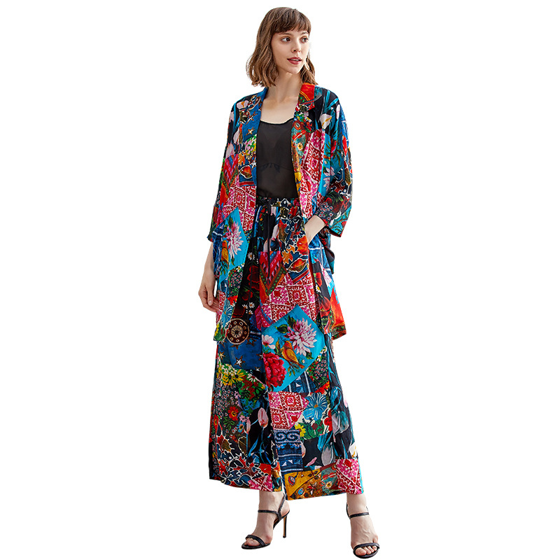 Silk Leisure Suit 2019 Spring And Summer New Thin Casual Suit Jacket Fashion With High Waist Printed Wide Leg Pants Women'S Suit