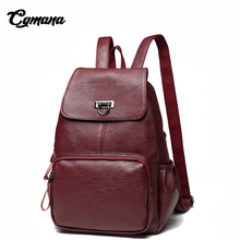 CGMANA High Quality Soft Leather Backpack Women 2018 Fashion Casual Daily Feminine Simple School Bags Travel Bolsa