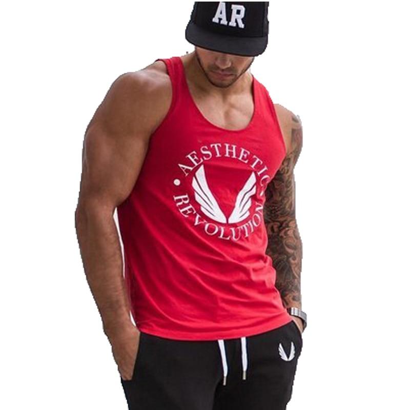 New Bodybuilding Gold Cotton Tank Top Men New Muscle Stringer Singlet jersey clothing Print Plus Size M-2XL