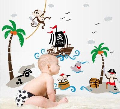 Creative kindergarten school classroom glass decorative coconut trees pirate ship children room wall stickers