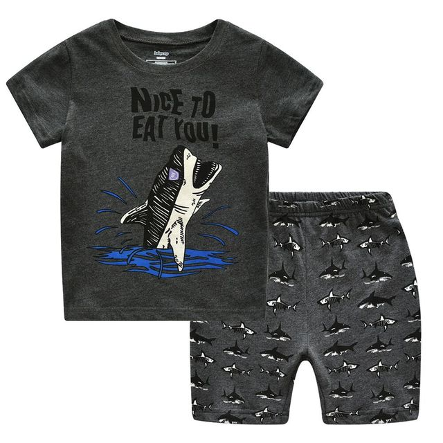 summer shark pajamas baby boys siut cotton pijama clothing girls  summer shark pajamas baby boys siut cotton pijama clothing girls pyjamas cartoon sleepwear kids sports clothes