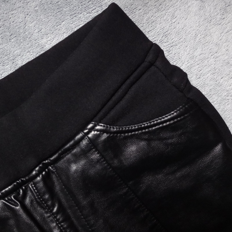 PU Cuciture In Pelle Leggings Inverno Più Leggings di Velluto Delle Donne A Vita Alta Nero Leggins Caldo Skinny Pantaloni Lunghi Legging C3931 - 4