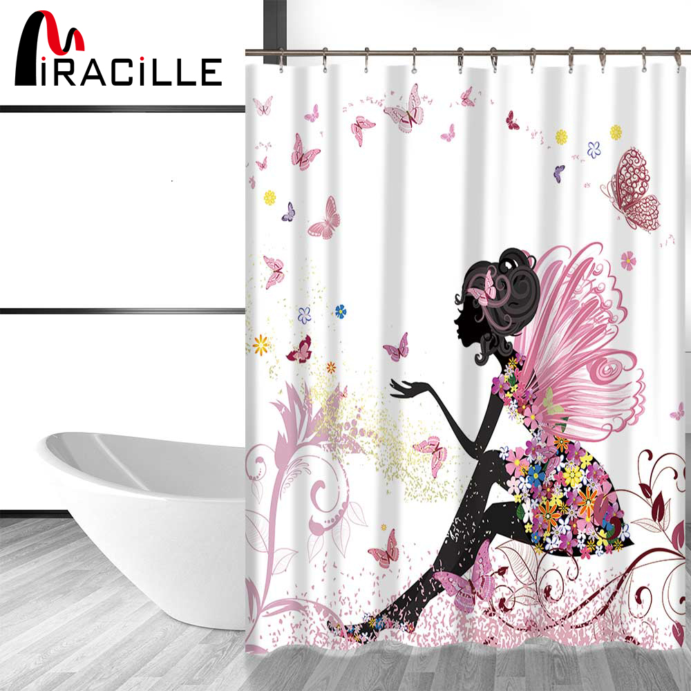 Miracille Butterfly Flower Girls Pattern Shower Curtain Waterproof Polyester Fabric Bath Home Accessories With 12 Hooks