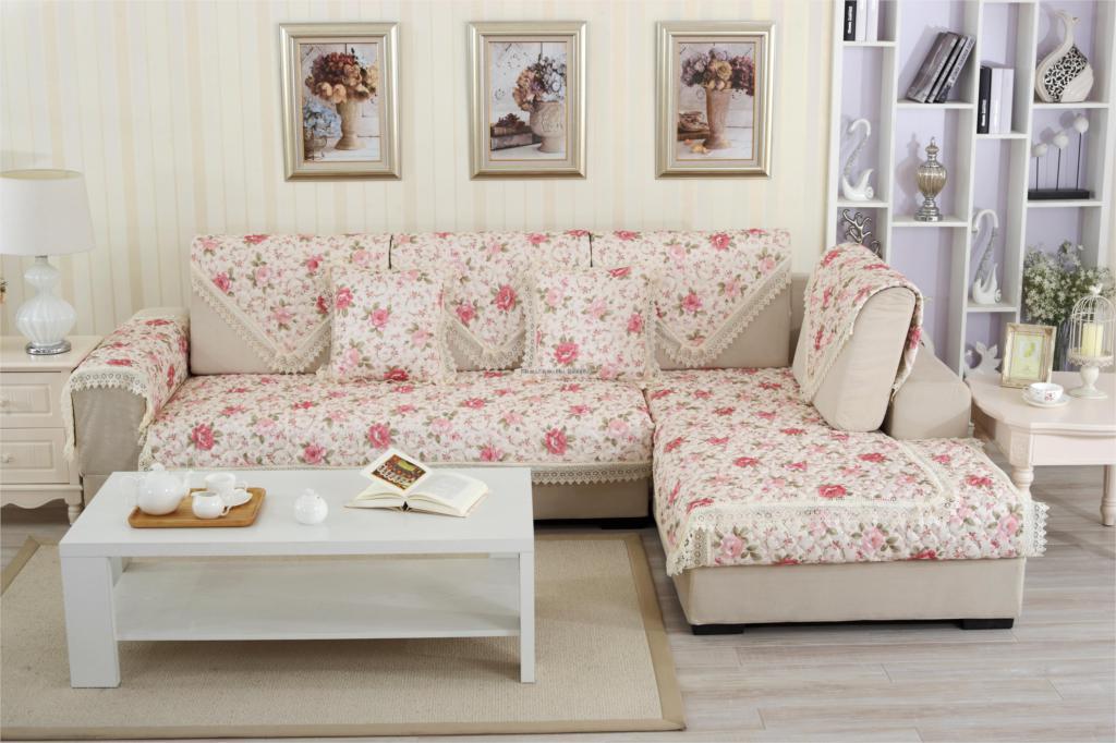 european style floral print sofa cover 100 cotton lace sofa cape fashion armrest slipcover. Black Bedroom Furniture Sets. Home Design Ideas