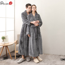 Pa.an Classic Thicken Bath Robe  Pajama Dress Velvet Warm Bath Gown with Belt Hidden Pocket Couple Wear Valentine Gift  Set hidden pocket longline stripe dress