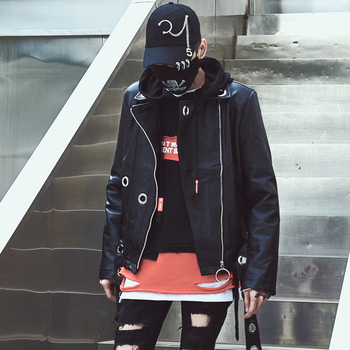 Korean Fashion Street Style Black Coat Casual Wild Leather Jacket Super Handsome PU Leather Jacket Size M-2XL