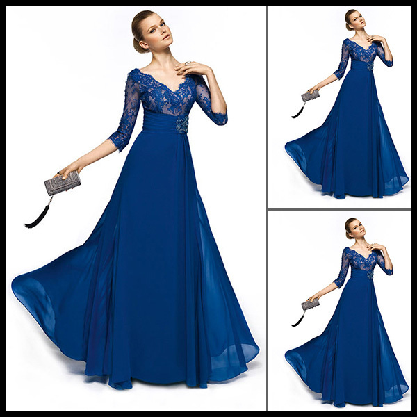 Royal Blue A Line Fashion Lace V Neck Prom Party Gown Women Evening ...
