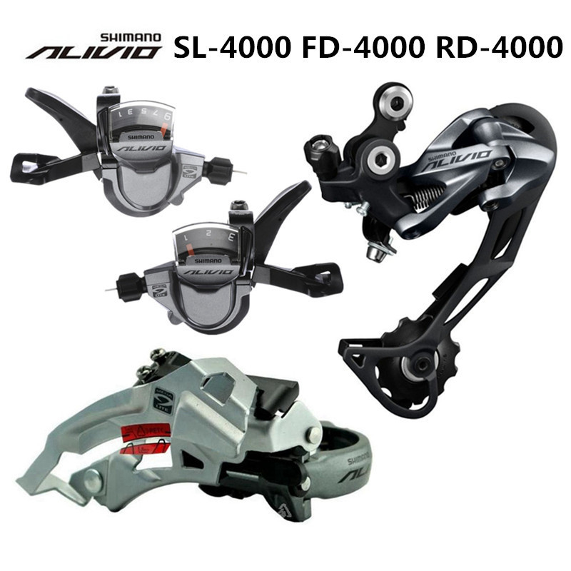 SHIMANO ALIVIO M4000 9S 27S Speed MTB Bicycle Groupset Kit 3 Parts with Shifter Lever & Front and Rear Derailleur цена