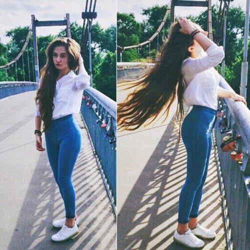5432eeffe2bd4 2018 New Fashion Women High Waist Blue Black Jeans Pencil Stretch Casual Denim  Skinny Jeans Pants Lady Slim Trousers