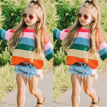 Toddler Kids Girls Sweatshirt For 1-6Y Pretty Multi Striped Warm Pullover Sweater Jumper Autumn Winter New Kids Sweaters Clothes(China)