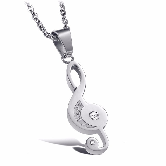 Couple Necklaces Pendants for Lovers Fashion Jewelry Music Symbol Pendant Titanium Steel Musical Notation Necklace N823