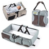 Multifunctional Foldable Mommy Bag Large Capacity Universal Portable Travel Outdoor Folding Bed Baby Crib Basket Diaper Bags