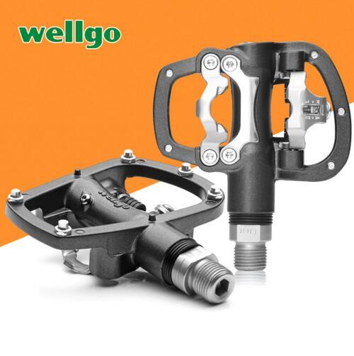 цены на Wellgo R120B MTB Mountain road Bike Clipless Pedals With Cleats SPD Compatible Bicycle Aluminum alloy self-locking pedal в интернет-магазинах