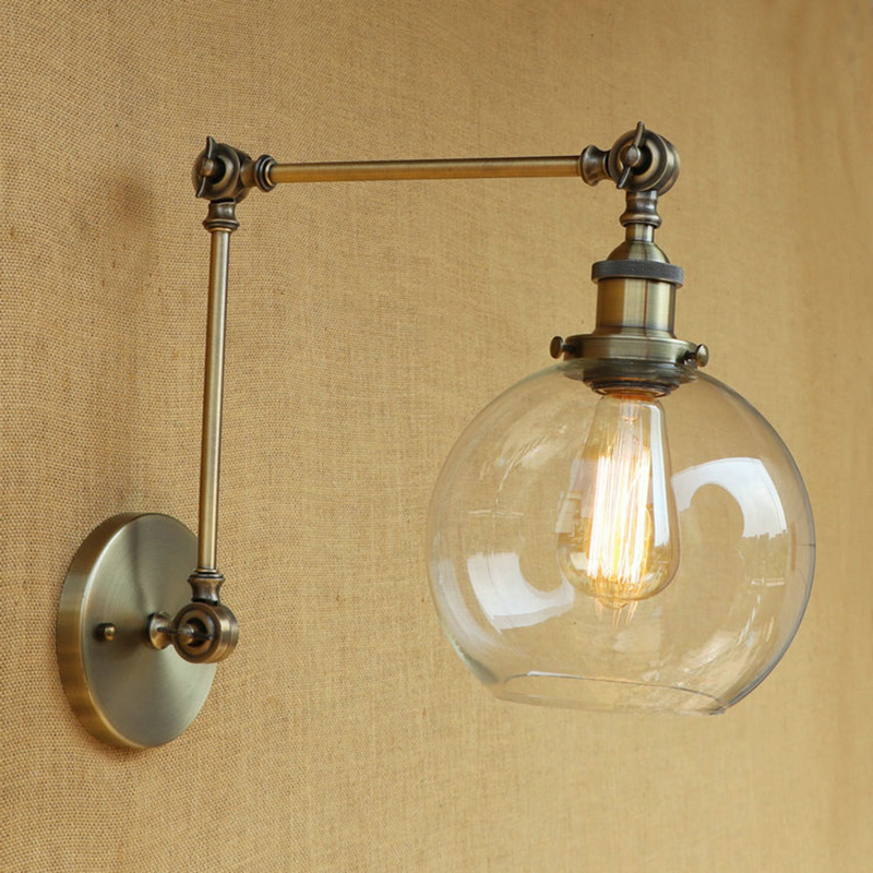 Modern Retro Metal Wall Light Industrial Clear Glass Lampshade Free Adjust Long Swing Arms For Living Room Restaurant Bar E27 Lights & Lighting