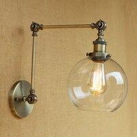Retro Loft Industrial Wall lamp glass lampshade free adjust swing arm sconc for living room bedroom restaurant ba LED E27