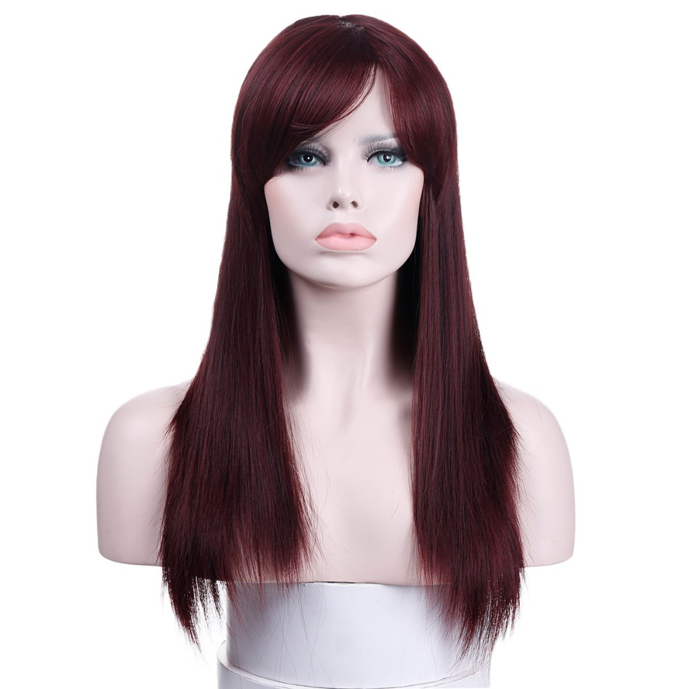DIFEI 22Long Straight Wigs For Women Black Brown White Cosplay Wig Female synthetic Hair Fake Hairpiece