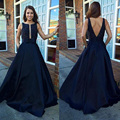 Red Carpet Dresses Black A Line Elegant Celebrity Dresses 2016 Cheap V Neck Simple Satin Prom Gowns Vestidos Para Formatura