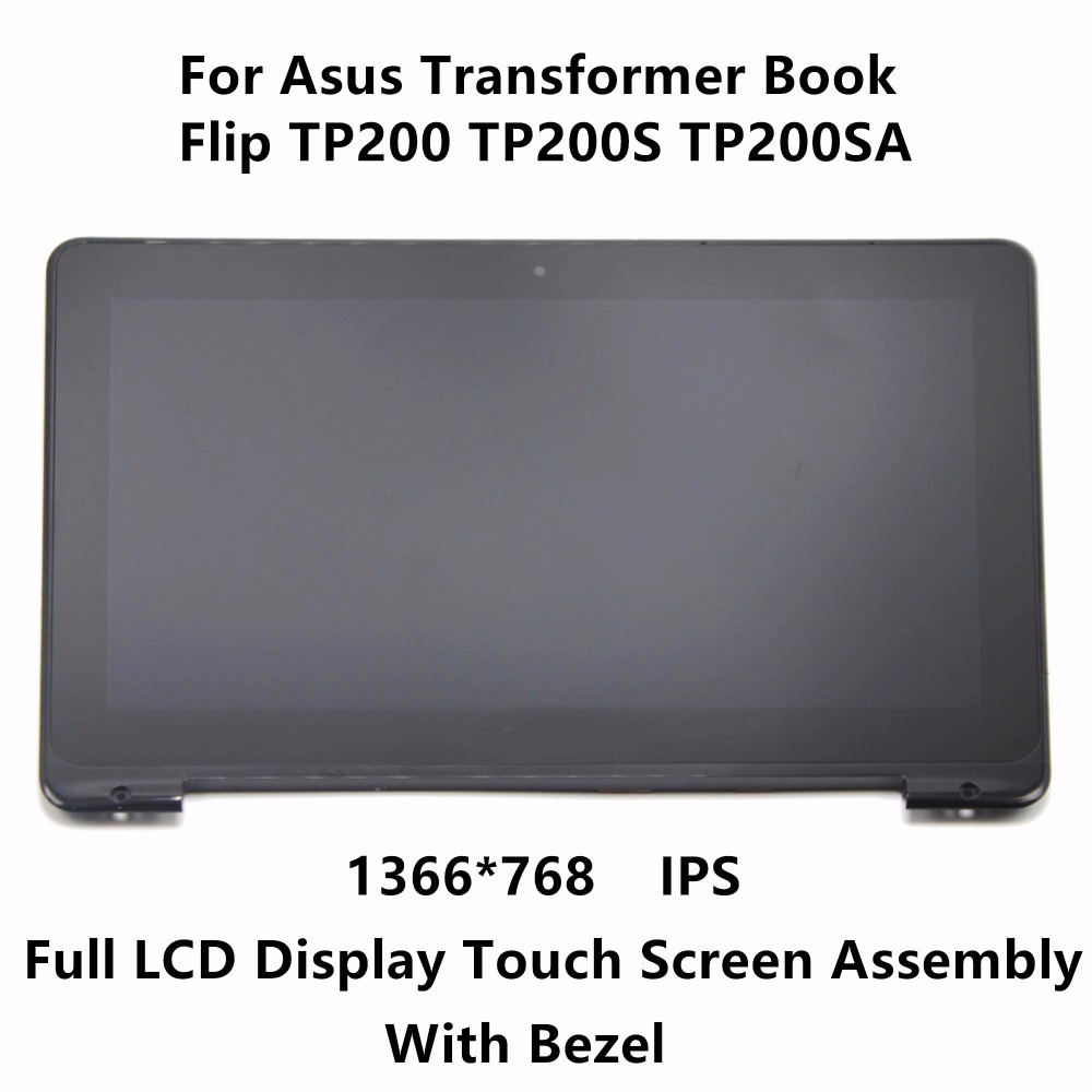 11.6 inch For Asus Transformer Book Flip TP200 TP200S TP200SA Touch Panel Glass Digitizer IPS LCD Screen Display Assembly Bezel 11 6 lcd display monitor touch panel screen digitizer glass assembly with frame for asus transformer book t200 t200ta