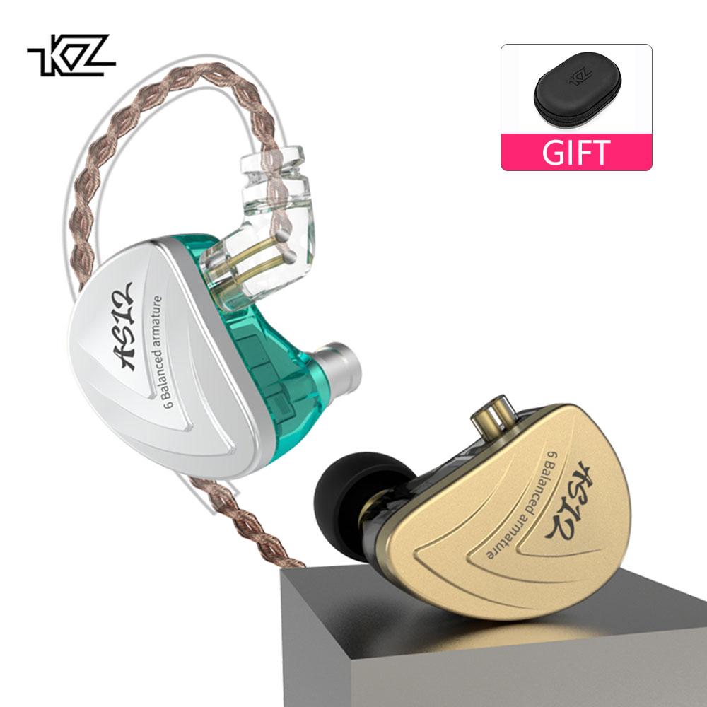AK KZ AS12 6BA Balanced Armature In Ear Earphone HIFI Running Sport Earphone Earplug Headphone KZ