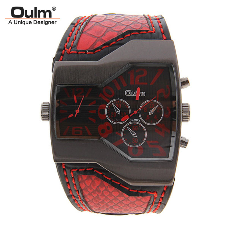 Fashion Oulm Watch Men Sport Brand Relojes Japan Double Movement Square Dial Compass Function Military Cool Stylish Wristwatches
