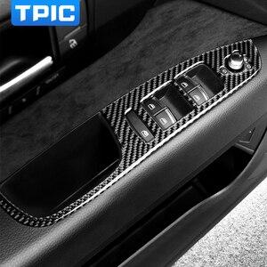 Image 1 - TPIC Auto Innen Dekoration Carbon Faser Auto Fenster Switch Control Panel Auto Aufkleber Auto Styling Für Audi Q7 2008 2015