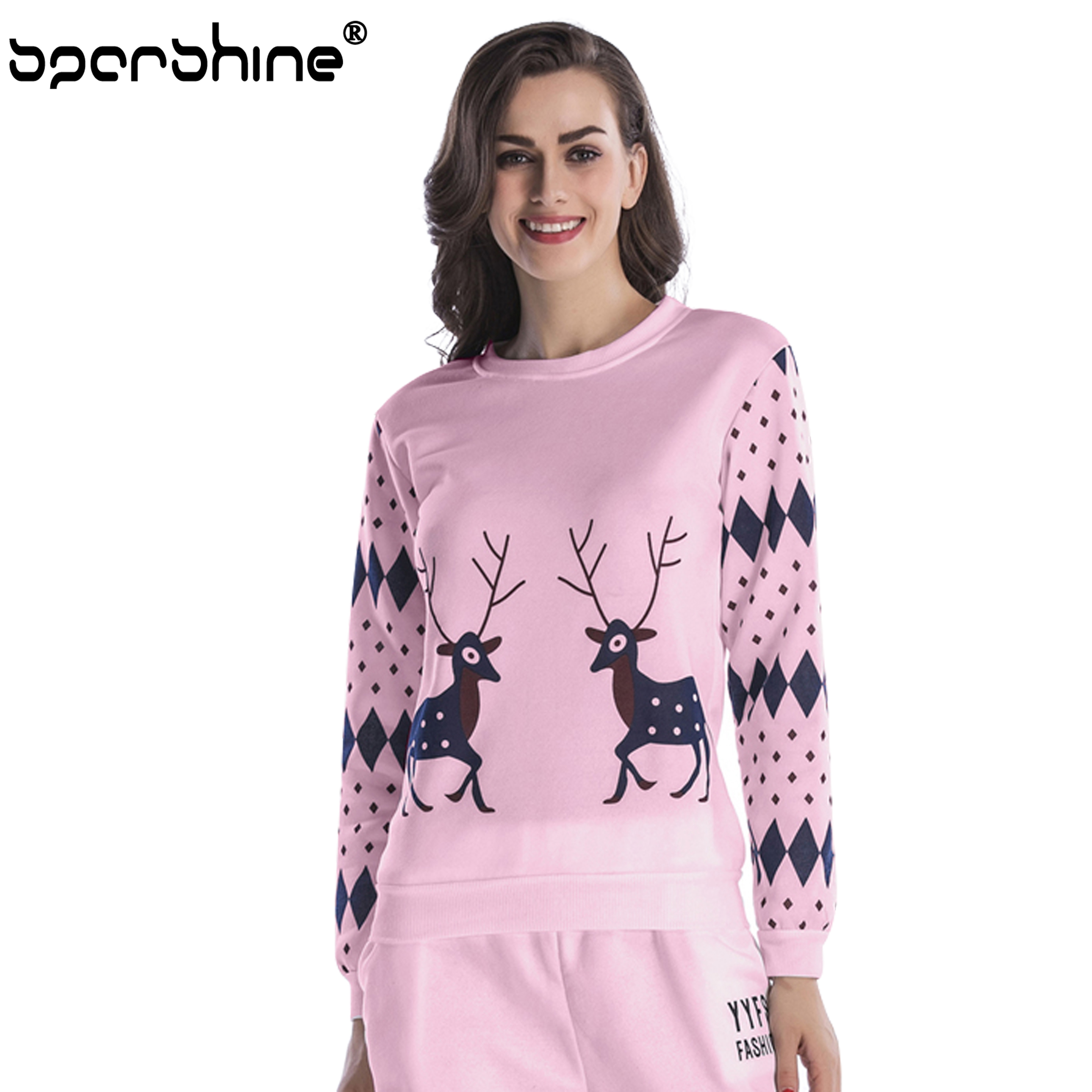 2018 Fashion Christmas Elk SweaterShirts Women O-Neck Long Sleeve Pullovers Pullover Casual Red Strapless Halter Spring Autumn