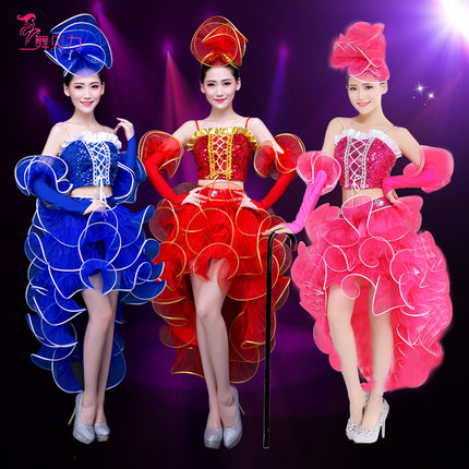 (top+skrit+cuff)female costume modern dance clothing jazz dance costumes sequined dresses pink adult clothing singer dancer star