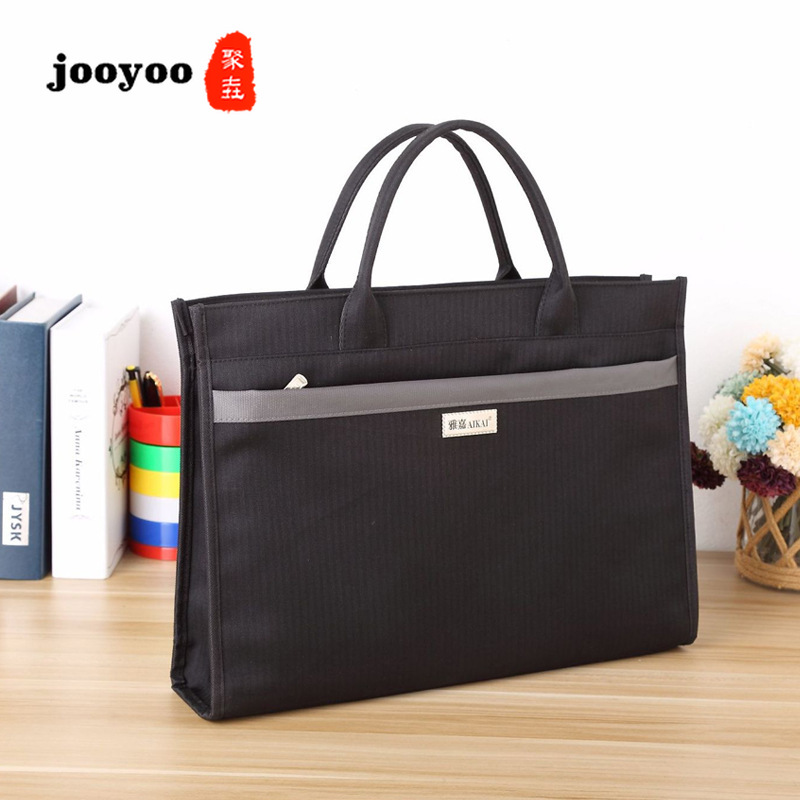 Men's Portable Large Capacity Wear Resistant Document Bag Canvas Double Zipper Meeting Kit Briefcase Conference Bags Jooyoo