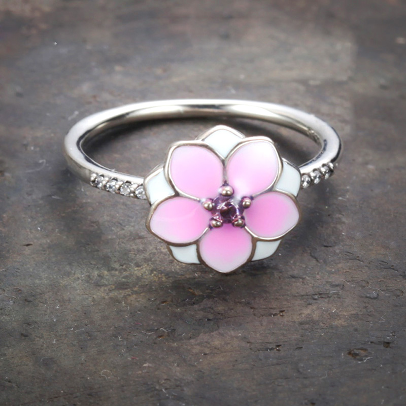 925 Silver Romantic Peach Flower Enamel & Pink CZ Finger Rings For Women Wedding Cherry Blossoms Valentine's Day Couple Ring