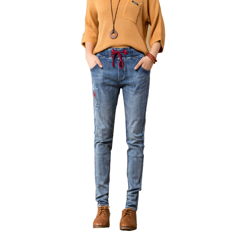 2017 Autumn New Stitching Embroidery Jeans Woman Pants Female Trousers for Women Thin Elastic Waist Tie Haren Slacks